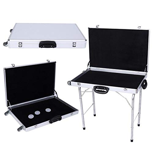 Table de Camping Pliante en Aluminium, Table Pliante Table de Jardin en Métal Table de Camping Blanche Valise à Bijoux de Rangement Pliable avec Roues et Poignee 60*40*7.5cm