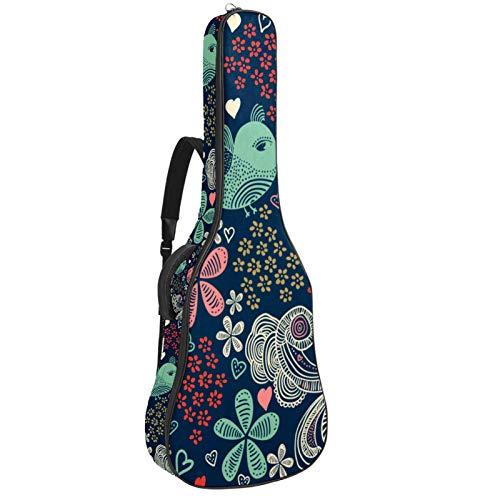 Funda de Guitarra Universal Grupo de aves de dibujos animados Acolchada (10mm) para Guitarra Acústica y Clásica Super Grueso Impermeable 109x43x12cm