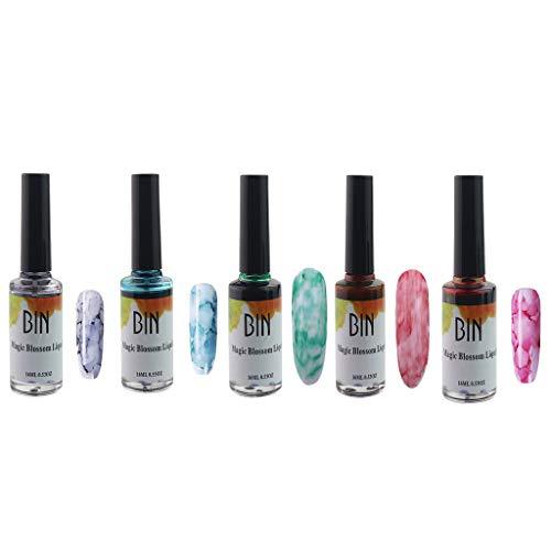 5 Blossom Nail Polish, Blossom Nagellack Aquarell Marmor Nail Ink, Nail Art Gel 16ML Kit, DIY Design Maniküre (Größe B)