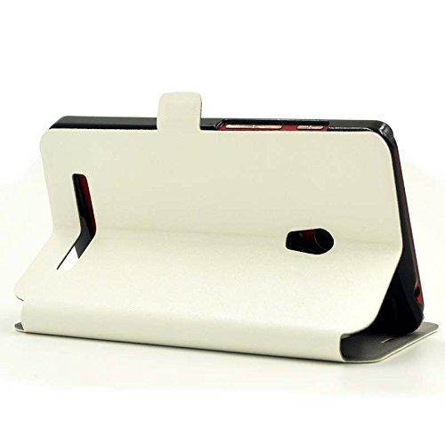 『【ECMAX】 ホワイト ASUS ZenFone 5 A500KL ケース カバー 手帳型 PUレザー素材 自動スリープ スタンド機能付き ECMAX正規代理品』の4枚目の画像