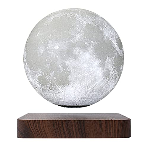 Magnetic Levitating Moon Lamp Night Light Floating and Spinning in Air Freely with Gradually Changing LED Lights Between Yellow and White for Home,Office Decor,Unique Holiday Gifts