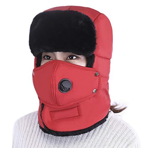 Hombre Mujer Gorros de Aviador de Felpa Sombreros a Prueba de Viento Sombrero de Bombardero Invierno Caliente Cache Orejas con Máscara Desmontable para Patinaje Esquí Actividades al Aire Libre,Rojo