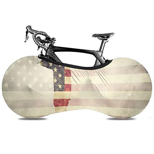 3d brillante cielo estrellado portátil cubierta de bicicleta interior anti polvo alta elástico cubierta de la rueda de la bicicleta protectora Rip Stop neumático carretera mtb bolsa de almacenamiento, Saluting Soldier On USA Grunge Bandera, talla única