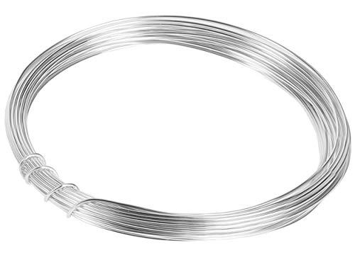 mumbi 10m Basteldraht 1mm, Schmuckdraht Aludraht Dekodraht Aluminiumdraht rostfreier Draht in Silber