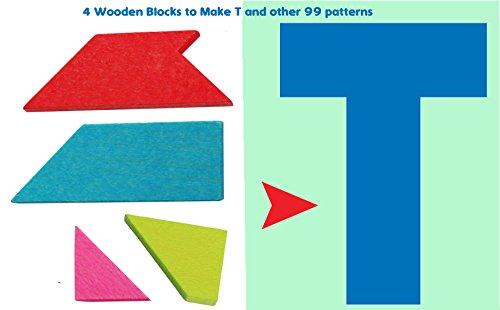 Toys of Wood Oxford Holz Tangram T Puzzle- Tangrampuzzle Teile mit 100 Lösungen - Kinder-Reisespiele - Holz-Spielzeug für Kinder und Erwachsene