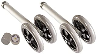 """Heavy Duty Bariatric Walker Wheels Pair, Universal Replacement Wheel Kit for Walkers with Free Walker Glides Accessories Double 5"""" Wheels with Glide Tips 1/pr by Healthline Trading"""