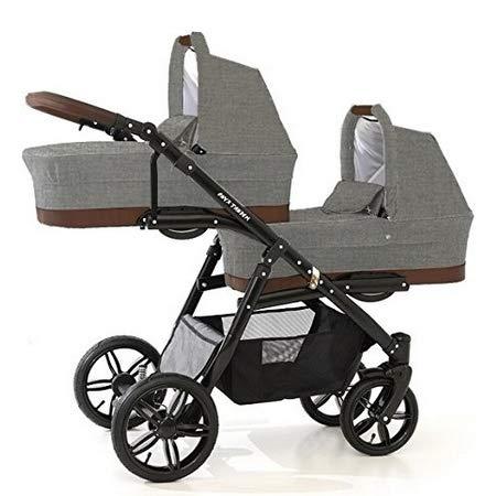 Passeggino gemellare Trio BBtwin, dalla nascita ai 3 anni, passeggino doppio 3in1 Lino grigio