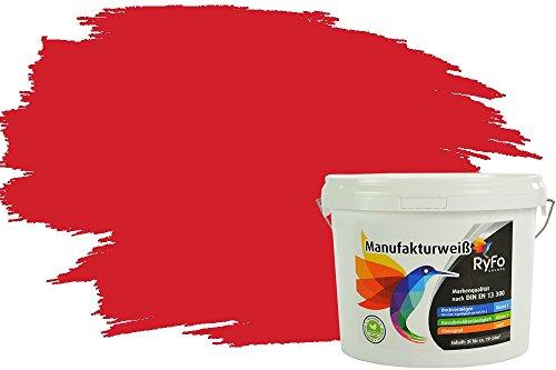 RyFo Colors Bunte Wandfarbe Manufakturweiß Feuerrot 3l - weitere Rot Farbtöne und Größen erhältlich, Deckkraft Klasse 1, Nassabrieb Klasse 1