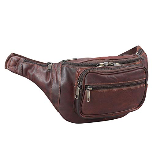 STILORD 'Maverick' Bolso riñonera Bandolera de Piel Estilo Retro Bolso de Cintura para Viaje de Hombres y Mujeres Bolsa de Cadera o cinturón de auténtico Cuero, Color:Cognac marrón Oscuro