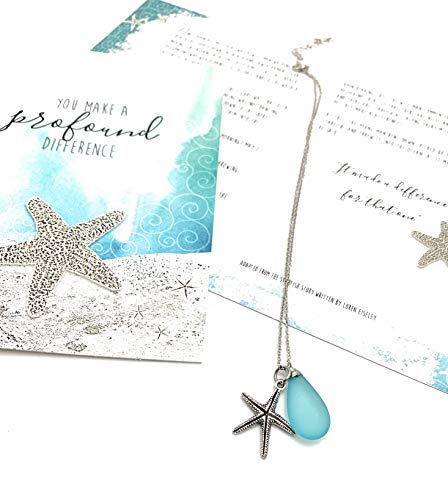 Smiling Wisdom - Handmade Sea Glass Starfish Necklace Set - You Make a Profound Difference Story Card - Appreciation, Thank You - Woman Friend, Teacher, Volunteer - Silver, Frosted Blue
