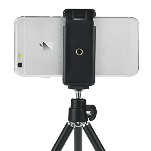 Universal Adjustable Tripod + Wireless Bluetooth Remote – incl. Tripod/Universal Phone Holder/Phone Bag/Microfiber Cloth - Suitable for Most Smartphones (Bluetooth Remote)