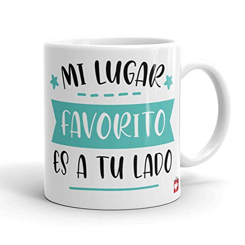 Kembilove Taza Desayuno para Parejas – Tazas Originales con Mensaje Mi lugar favorito es tu a tu lado color verde – Taza de Café y Té para Madres – Tazas de Regalo para el día de San Valentín