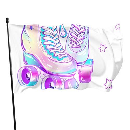 XiexHOME Nette Retro Rollschuhe Flagge Haus Dekor Dekorative Home Flags 3x5 Fuß Lebendige Farben Qualität Polyester und Messing Ösen
