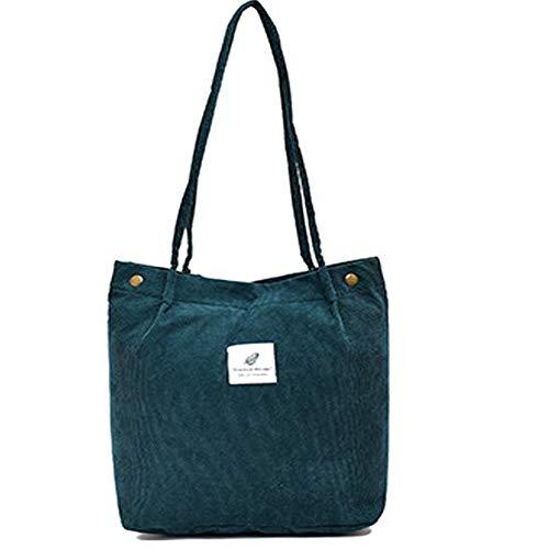 Funtlend Handtasche Damen groß Cord Tasche Damen Handtasche Shopper Damen für Uni Arbeit Mädchen Schule (Grün)