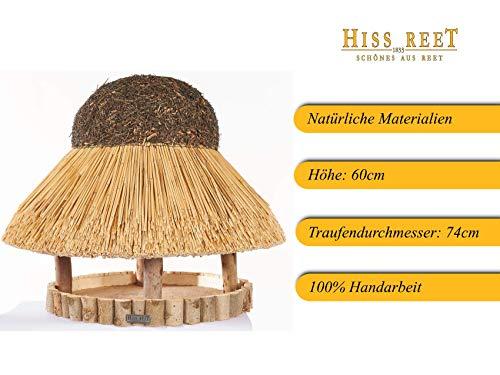 Vogelhaus mit Reetdach Futterhaus Futterstation -74 cm- traditionell eingedeckt - 2