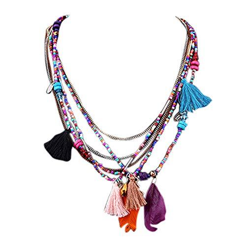 Amesii - Collana a catena sottile multistrato, con perline colorate, nappe, piume, in lega, per donna, stile boho, etnico e Lega, colore: Multicolore, cod. O6WZL9ZR9H1BO6V1KDB9JU174TYH