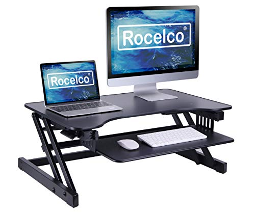 Rocelco 32' Height Adjustable Standing Desk Converter - Quick Sit Stand Up Dual Monitor Riser - Gas Spring Assist Tabletop Computer Workstation - Large Retractable Keyboard Tray - Black (R ADRB)
