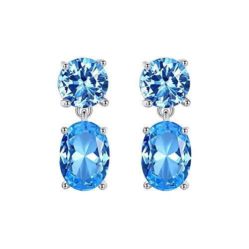 Adokiss Jewellery earrings silver 925 women, earrings women's wedding oval blue cubic zirconia, silver, birthday gift for girlfriend, Valentine's Day gift for her.