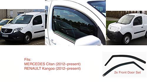 2x Windabweiser kompatibel für Mercedes Citan Renault Kangoo II 2007 2008 2009 2010 2011 2012 2013 2014 2015 2016 2017 2018 2019 2020 Premium Qualität Acrylglas PMMA