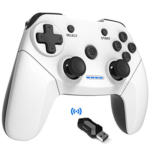 Maegoo Mando PC PS3 Inalámbrico,2.4G Wireless Game Mando Gamepad Joystick con Dual Shock Recargable para Playstation 3 y PC Windows 10 XP 7 8 Smart TV/TV Box (Blanco)
