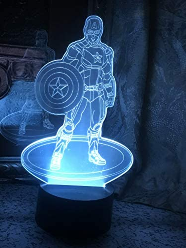JYNHOOR 3D Night Light Captain America 7 Colors Touch Table Table Lamp 3D Optical Illusion Lights product image