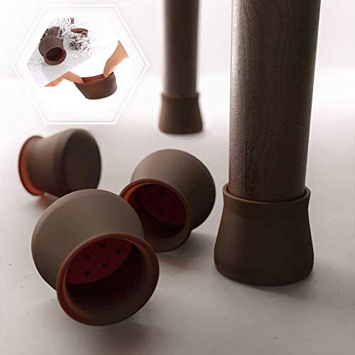 16 PCS Dark Walnut Color Silicone Chair Leg Floor Protectors Anti Slip Furniture Silicon Protection product image