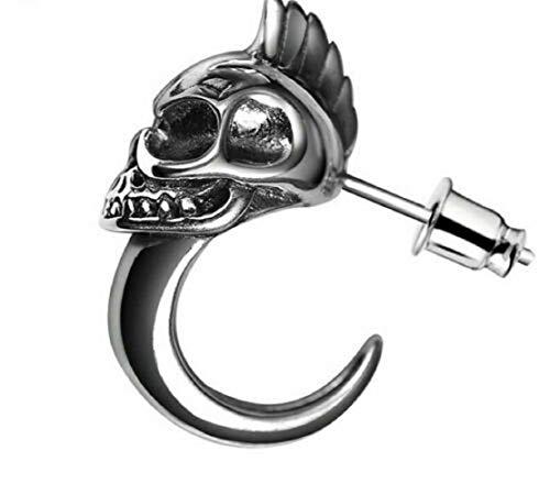 Pendientes de calavera de personalidad de plata de ley 925 Pendientes de hombres y mujeres Wild Punk Skull Rider Pendientes