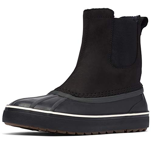 Sorel - Men's Cheyanne Metro Chelsea Waterproof Insulated Leather Boots with Microfleece Lining, Black, 10.5 M US