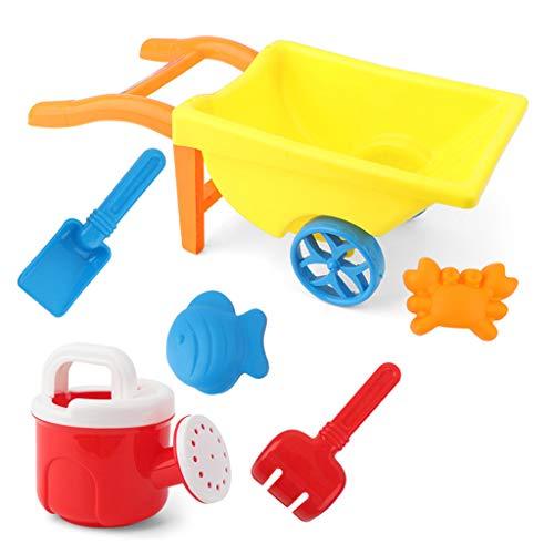 ZZALLL 7 s Carretilla Juguetes de Playa para niños Juguetes de Arena para Construir moldes de Castillos de Arena - Amarillo