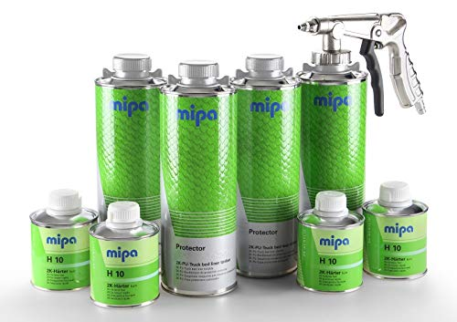 PARTS4CARE MIPA Protector Set 2K-PU-Truck Bed Liner Beschichtung tönbar & Härter & Pistole