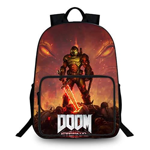 Doom Eternal Equipaje Mochila de la Escuela portátil Lightweight Daypack Compacto y liviano Bolsa de la Escuela Multicolor Bolsa de Viaje Adecuada para niños y niñas para Mujeres y Hombres