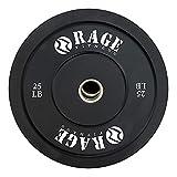 RAGE Fitness Olympic Bumper Plate (SOLD INDIVIDUALLY - 10lb, 15lb, 25lb, 35lb, 45lb), Steel Insert, Strength Training, Bench Press, Squats, Powerlifting, 25 lb