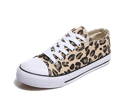 Frentree Unisex Damen Herren Sneaker Low Bequeme Leinenschuhe (bei größerem Fuss eine Nummer größer nehmen als Vorschlag), Farbe:Leopard, Größe:36