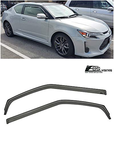 for 2011-Present Scion tC Gen. 2 | EOS in-Channel Style Smoked Tinted JDM Side Window Vent Visors Rain Guard Deflectors