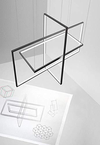 Moderne LED-Pendelleuchte, dimmbar mit Fernbedienung 3-Platz Runway Kreative Aluminium und Acryl Esstisch Kronleuchter for Kücheninsel Wohnzimmer Schlafzimmer (Color : Black)