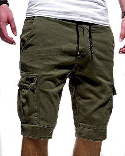 HONGBI Pantalón Corto Laboral para Hombre,Outdoor Cargo Shorts Pantalones Cortos Militares Cintura Elástica Bermudas Short Vintage Shorts con Múltiples Bolsillos Verde M