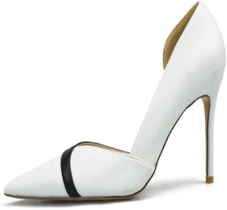 ZerenQ D'Orsay Pumps for Women High Stiletto Heels Two Tones Side Cut Sexy Dress shoes for Ladies Durable (color   White 8 cm Heel, Size   33 EU)