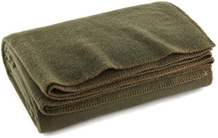 "Olive Drab Green Warm Wool Fire Retardant Blanket, 66"" x 90"" (80% Wool)-US Military Style"