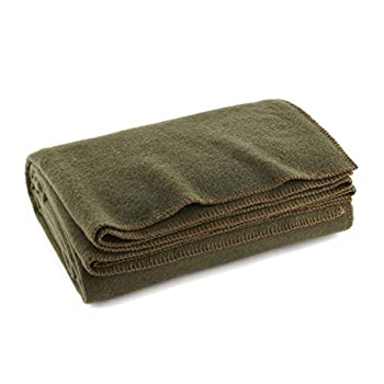 Olive Drab Green Warm Wool Fire Retardant Blanket 66  x 90   80% Wool -US Military Style