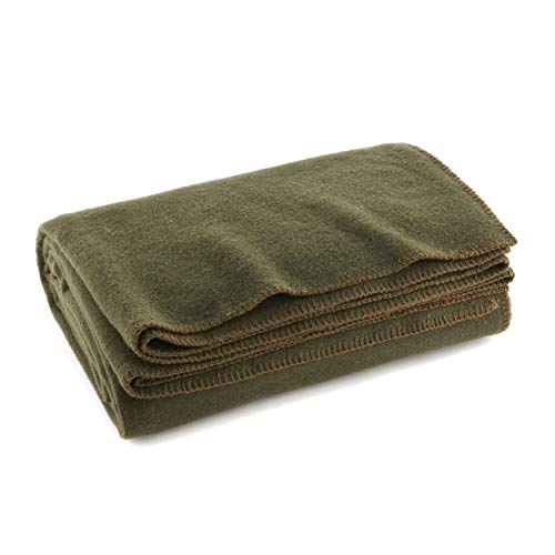 Olive Drab Green Warm Wool Fire Retardant Blanket, 66' x 90' (80% Wool)-US Military Style