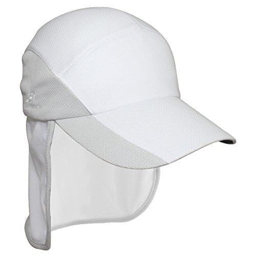 Headsweats ProTech Hat Laufmütze mit Nackenschutz Sportkappe, White/Sport Silver, Uni