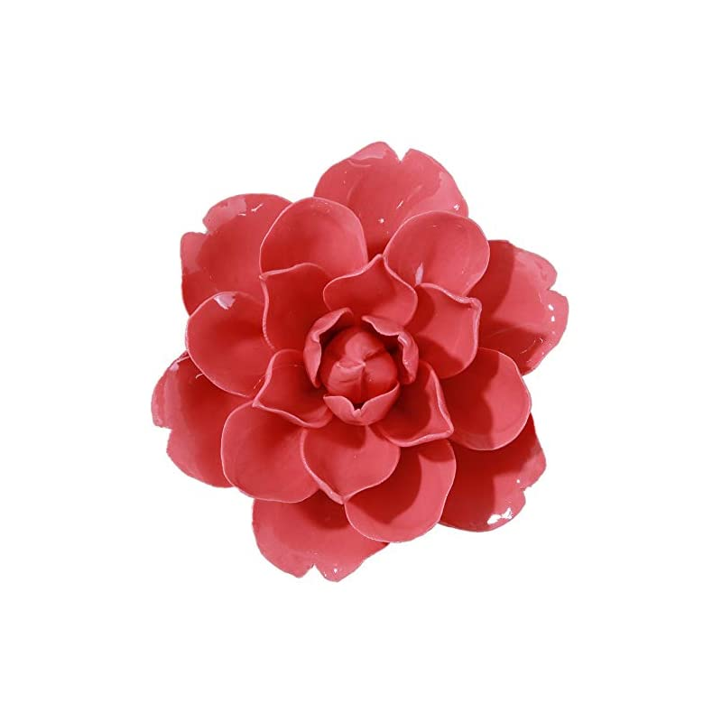 silk flower arrangements alycaso ceramic flower wall décor artificial 3d flower wall art for living room home hallway bedroom kitchen farmhouse bathroom dining room, snow lotus, red, 3.93 inch