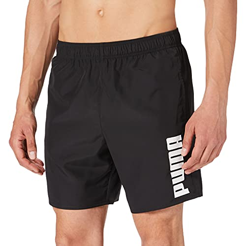PUMA Mens Men's Mid Shorts Swim Trunks, Black, X-Large