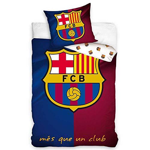 Barcelona CF Funda Nórdica Reversible 140 x 200 cm para Cama Infantil de 90 Funda Almohada 70 x 80 cm (fcb6001)