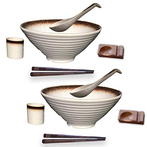 BETTER LIVIN 10 Pc Glazed Ceramic Ramen Bowl Set (60oz) with 2 Japanese Bowls and Spoons, 2 Wood Chopsticks, 2 Spoon Holders, 2 Asian Tea Cups-Microwave, Freezer & Dishwasher Safe for Noodles-White