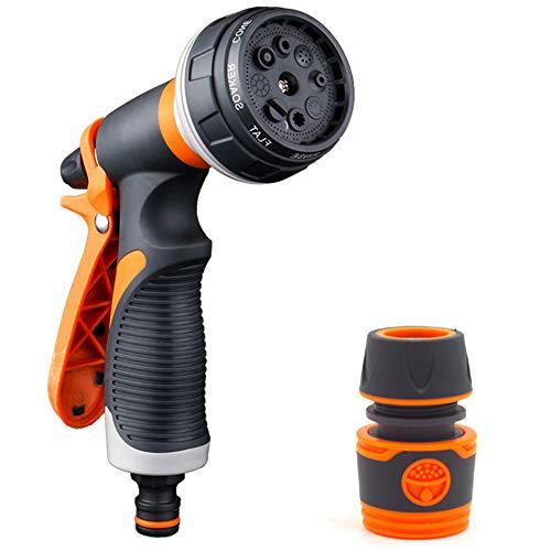 Pistola de Riego, Metal Pistola de Agua de Jardín con 8 Modos de Ajustable Pulverización - Rociador de Mano de Alta Presión para Regar el Césped, Lavado de Autos, Baño de Mascotas, Limpieza de