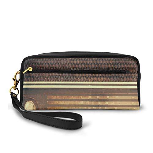 Kleine Make-up-Taschen, Geldbörse, antiker Retro-Stil, 60er-Jahre-Stil, Radio, Musik-Player, Lautsprecher, Knöpfe, Bild, PU-Leder, Reißverschluss, Reise-Kosmetiktasche und Bleistift-Organizer