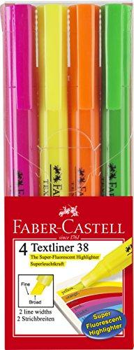 Faber-Castell A.W. 157704 - Textmarker Textliner 38, 4er Etui, sortiert
