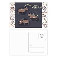 クリスマスのトナカイの漫画のパターン 公式ポストカードセットサンクスカード郵送側20個