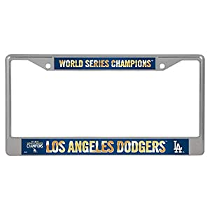 "Rico 2020 Los Angeles ""LA"" Dodgers World Champions Chrome Frame, WS Baseball Fan License Plate"